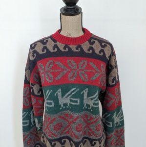 VINTAGE 100% Pure Wool Knit Pattern Sweater sz M